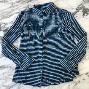 J. McLaughlin Blue and White Striped Button Down